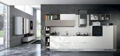 Cucina Moderna - MOON DUNA DIVA Finitura laminato bianco e laccato tortora opaco | Piano in agglomerato spacco bianco | Maniglia Duna http://www.arredo3.it/cucine-moderne/cucina-moderna-moon-duna-diva/