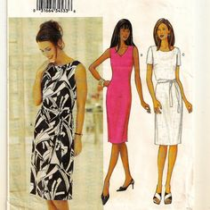 A Fitted, Straight, Sleeveless or Short Sleeve Dress Pattern with Neckline Variations