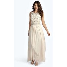 Boohoo Boutique Boutique Sienna Embellished Top Chiffon Maxi Dress ($60) ❤ liked on Polyvore featuring dresses, ivory, ivory dress, sequin dress, ruched dress, beaded maxi dress and ruched maxi dress