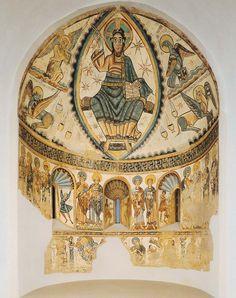 Christ in Majesty, apse, Santa Maria de Mur, near Lerida, Spain. Tempera, European History, Art History, Santa Maria, Fresco, Christ, Tarot, Byzantine Art, Spanish Artists