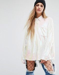 Mad But Magic Oversized Shirt In Sequin