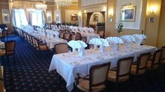 Jubilee Restaurant set up for Sidmouth Rotary Club Presidents night and dinner dance.