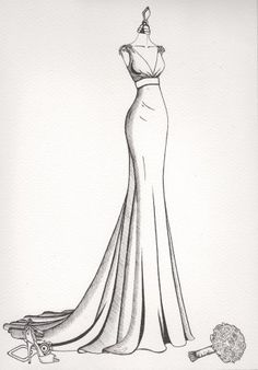 HochzeitHochzeit Hochzeit Fashion Design Custom wedding dress illustration from Wedding Dress Ink studio - shipped worldwide. Personalised Mirror View wedding dress illustration from Wedding Dress Ink Bride N' Groom Sketch - - Dress Design Drawing, Dress Design Sketches, Fashion Design Sketchbook, Fashion Design Drawings, Fashion Sketches, Gown Drawing, Dress Designs, Sketch Drawing, Wedding Dress Drawings