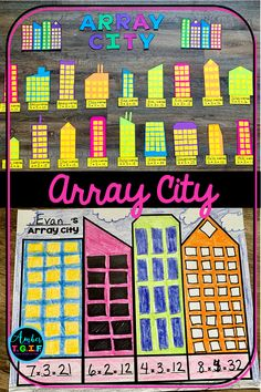 I loved the simplicity of this multiplication array city project for my bulletin board! It was the perfect practice for my students when studying arrays and area, and it made the cutest display in the hallway! Teaching Multiplication, Teaching Math, Multiplication Strategies, Array Multiplication, Fourth Grade Math, Second Grade Math, Sixth Grade, Grade 3, Math