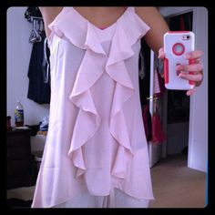 Ruffle tank top Pale pink dressy tank top. semi lace back. NWOT. perfect condition. Maurices Tops Blouses