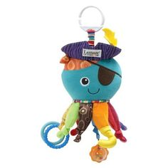 Lamaze Captain Calamari -- we just keep ours in the car seat. Any of these Lamaze toys are great. We keep this one permanently on our car seat and it's great for sounds and chewing. It always entertains him.