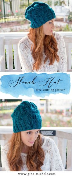 FREE knitting pattern for this Textured Slouch Hat! Dishcloth Knitting Patterns, Knit Dishcloth, Loom Knitting, Free Knitting, Christmas Crochet Patterns, Crochet Snowflakes, Crochet Ornaments, Crochet Christmas, Knitted Hats