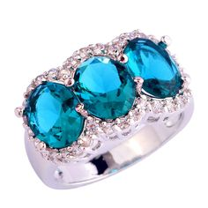 AAA CZ  New Jewelry Green CZ Plated Silver Fashion Ring Size 7 8 910 unisex Free Shipping Wholesale