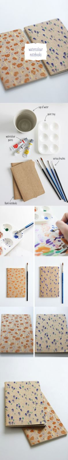 DIY watercolor decorated notebooks