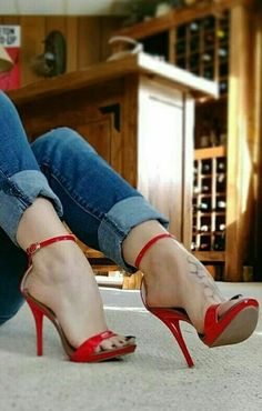 Denim Jeans and High Heels. Together, means it's time to kick ass. Sexy High Heels, Sexy Legs And Heels, Beautiful High Heels, Hot Heels, Gorgeous Feet, Stilettos, Stiletto Heels, Sexy Toes, Killer Heels