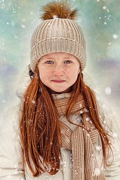 Girl in the snow. Love the colors.