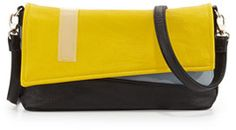 Poverty Flats By Rian Colorblock Faux Leather Asymmetric Clutch, Black/Yellow - 31% off, now $31.0 @ #NeimanMarcus