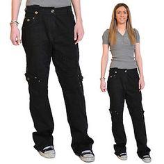 Ladies Womens Black Baggy Loose Cargo Pants Wide Boyfriend Combat Trousers Jeans   eBay