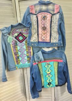 Sew Lace And Interesting Fabrics On A Denim Jacket Gilet Jeans, Mode Hippie, Estilo Hippie, Denim Ideas, Denim Crafts, Altering Clothes, Embellished Jeans, Denim And Lace, Recycled Denim