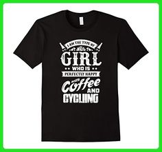 Mens Happy with coffee and Cycling T-Shirt Medium Black - Food and drink shirts (*Amazon Partner-Link)