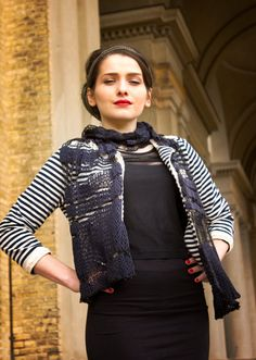 black silk scarf / woman scarf / knit scarf by BonniesCinematheque, €47.75
