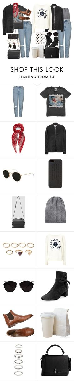 """Untitled #9296"" by nikka-phillips ❤ liked on Polyvore featuring Topshop, Yves Saint Laurent, Acne Studios, Ray-Ban, Marc by Marc Jacobs, AllSaints, Inverni, Forever 21, AG Adriano Goldschmied and Gianvito Rossi"