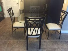 Quality Dining Table and 4 Chairs, bevelled glass.  $120.