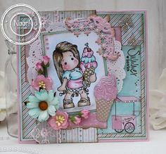 Jenine's Card Ideas: Kleuren met Potloden - Tilda with Cherry Ice