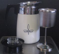Rare Vintage Corning Ware Black Trefoil 6 Cup Stove Top Percolator Coffee Pot Pyrex, Kettle, Stove, Goodies, Kitchen Appliances, Dishes, Canning, Patterns, Coffee