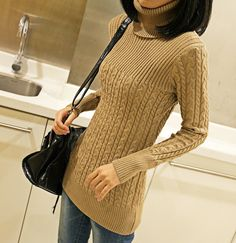 $7.73New Women Classic High collar Long Knit Casual Long Sleeve Pullover Tops Sweater