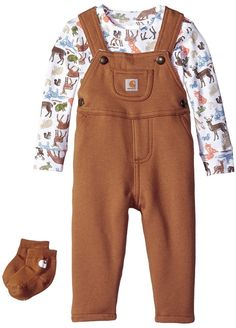 5ce431698 Carhartt Baby Boys' 3 Piece Set, Carhartt Brown Print, 24 Months: Three  piece set with long sleeve body suit and overalls.