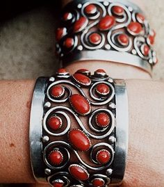 """Frank Patania Sr., c. 1955. Marked """"FP"""" with """"Thunderbird"""", coral cuffs."""