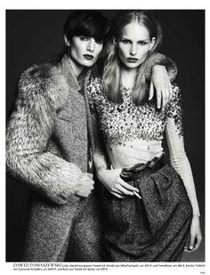 Vogue Germany August 2011: New Talent by Gregory Harris | girl friends | best friend | posing | model | fur | tweed | wool | autumn | winter | beauty |