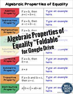 Algebraic Properties of Equality Digital Foldable - No scissors, no glue, no mess!