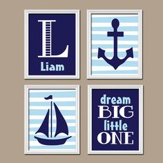 BOY Nautical Wall Art Boy Nautical Nursery Baby Boy by TRMdesign