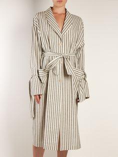 Tie-waist striped-cotton coat   Loewe   MATCHESFASHION.COM