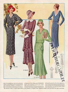 September 1930 Modenschau   (German fashion/pattern magazine), vintage fashion illustration