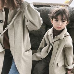 Mihkalev Solid Color Kids wool coat for girls autumn winter overcoat children long-length Windbreaker outerwear Girls Black Jacket, Matching Family Outfits, Matching Clothes, Baby Girl Jackets, Winter Overcoat, Mommy And Me Shirt, Girls Winter Coats, Baby Month By Month, British Style