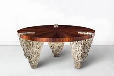 Our Ruth Table in pyrite & pin wood. Designed by Jallu, Jallu Creations 2021, pyrite furniture, furniture makers, furniture designer, pièce unique, artisanat français, bespoke furniture, ébénisterie, artisan, luxury furniture, luxury interiors, savoir faire, Made in France, interior inspiration, modern luxury, craftmanship, sur mesure, French designer, mobilier design Made In France, Table, Furniture Design, Coffee, Home Decor, French Crafts, Modern, Kaffee, Decoration Home