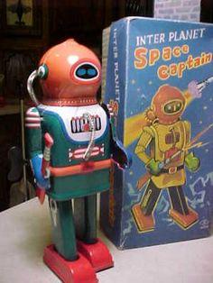 VINTAGE TIN SPACE CAPTAIN WIND-UP ROBOT-JAPAN w/BOX