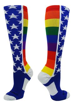 MadSportsStuff Rainbow Pride Over the Calf Socks - deal for kids Size 13 Mens Shoes, American Flag Socks, Large Womens Shoes, Over The Calf Socks, Rainbow Socks, Baseball Socks, Youth Shoes, Funny Socks, Rainbow Pride