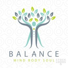 Logo Sold calm and relaxing logo design, representing the body's mind and spirit. The person arms are stretching upwards to also represent a growing tree.