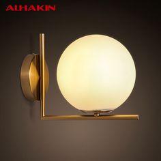 ALHAKIN Minimalist  Wall Light Round Ball Dia 27.5* H22cm Iron+ Glass E14 LED Bulb Wall Mounted Lamparas Banheiro Wall Sconce