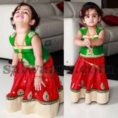 Kid in Party Wear Pavada - Indian Dresses Kids Ethnic Wear, Mother Daughter Dresses Matching, Kids Lehenga, Kids Gown, Party Wear Lehenga, Baby Girl Dresses, Indian Dresses, Kids Wear, Blouse Designs