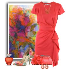 Summer Coral by cindy-for-fashion on Polyvore featuring polyvore, fashion, style, Diane Von Furstenberg, Paul Andrew, Lulu Townsend, Forever 21, Kenneth Jay Lane, Elizabeth Arden and Debora Stewart
