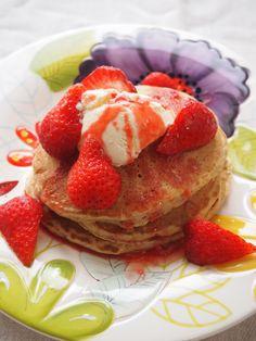 bran pancake with strawberry ice cream