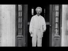 Only known footage of author Mark Twain, shot by Thomas Edison in Twain is shown walking around his home in Redding, Connecticut and playing cards with his daughters Clara and Jean. Free Association, Book Authors, Books, Two Daughters, Mark Twain, People Of The World, Famous People, Restoration, Connecticut