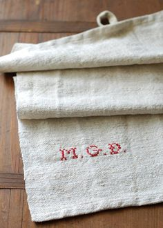 Hemp Hand Towel with Personalized Initials