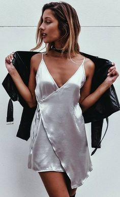Silver Silk Wrap Slip Dress Source