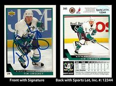 Tim Sweeney Signed 1993 Upper Deck Mighty Ducks #385 Trading Card SL Authentic . $6.00. National Hockey League Left WingTim SweeneyHand Signed 1993 Upper Deck #385Trading CardSweeney Played For:Calgary Flames 1990-1992Boston Bruins 1992-1993Mighty Ducks of Anaheim 1993-1995Boston Bruins 1995-1997New York Rangers 1997-1998.GREAT AUTHENTIC TIM SWEENEY HOCKEY COLLECTIBLE!!AUTOGRAPHS GUARANTEED AUTHENTIC BY SPORTS LOT, INC. WITH SPORTS LOT, INC STICKER ON ITEM.SPORTS LOT, INC. #: 12344