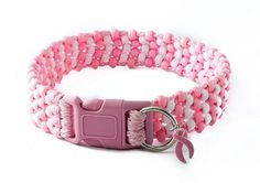 Show your pride! Zany Zak's pretty in Pink has pink beaded dog collar has pink and white beads with pink cord. This collar comes with a sturdy pink side release buckle. It also comes with a pink breast cancer ribbon charm!  Twenty five percent of proceeds from the sales of this collar will go towards breast cancer research and awareness.
