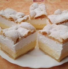 Very delicious, easy Cloud Slice Cake! Try it very delicious! My Recipes, Sweet Recipes, Cookie Recipes, Dessert Recipes, Mini Pastries, Homemade Pastries, Hungarian Desserts, Hungarian Recipes, Pastry Display