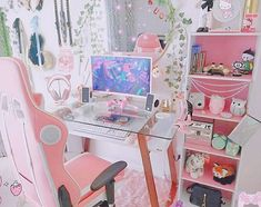 Cute Room Ideas, Cute Room Decor, Girl Bedroom Designs, Room Ideas Bedroom, Gaming Room Setup, Pc Setup, Kawaii Bedroom, Pastel Room, Video Game Rooms