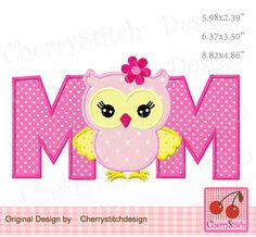 Owl  MOM applique Mother's Day owl and Father's Day owl embroidery applique FM061-for 5x7 6x10 hoop-Machine Embroidery by CherryStitchDesign on Etsy