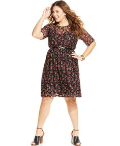 American Rag Plus Size Printed Belted Lace A-Line Dress